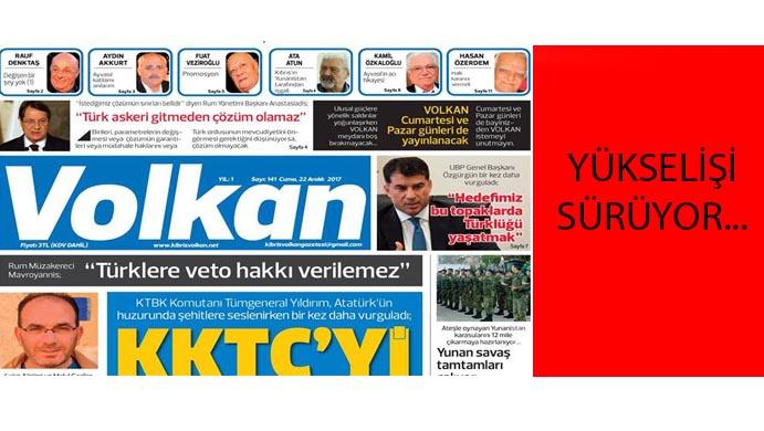 VOLKAN'ın yükselişi sürüyor…  21 gazete arasında 5. sırada